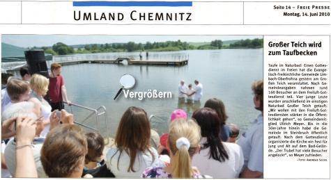 Großer Teich wird zum Taufbecken - Presseartikel